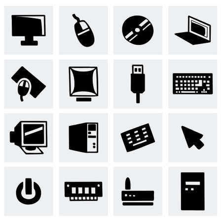 lcd panel: Vector Computer icon set on grey background
