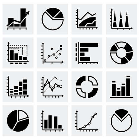 increment: Vector Diagrams icon set on grey background Illustration
