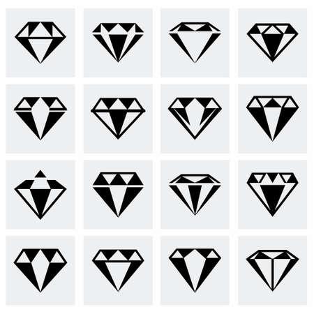 karat: Vector Diamond icon set on grey background Illustration