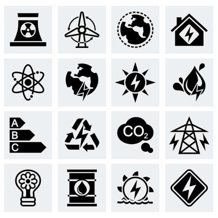 space industry: Vector Energetics icon set on grey background Illustration