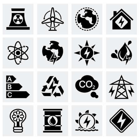 energetics: Vector Energetics icon set on grey background Illustration