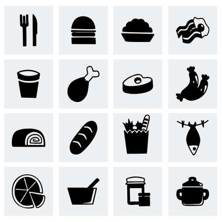 lo mein: Vector Food icon set on grey background
