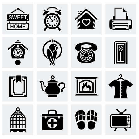 Vector Homey icon set on grey background