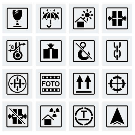 marking: Vector Marking of cargo icon set on grey background