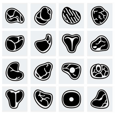 pork chop: Vector Meat icon set on grey background