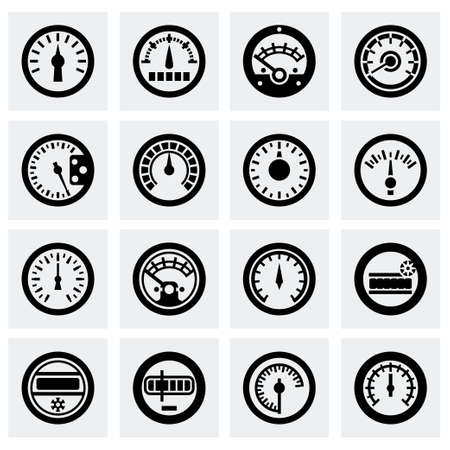 electric meter: Vector Meter icon set on grey background Illustration