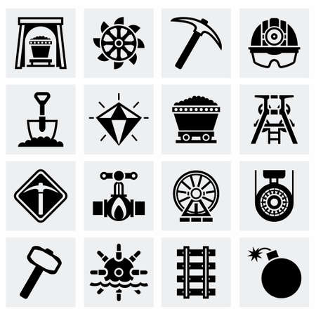 slavery: Vector Mining icon set on grey background Illustration