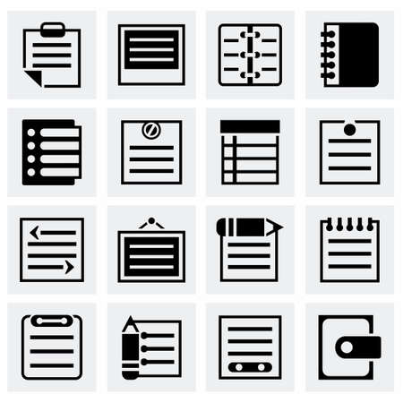 writing pad: Vector Notes icon set on grey background