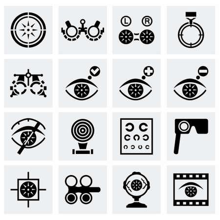 Vector conjunto de iconos de la optometría en fondo gris