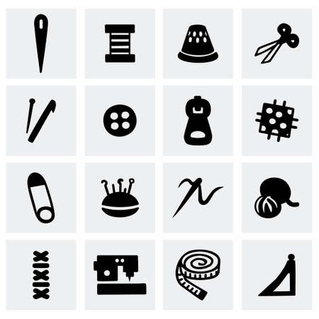 needle cushion: Vector Sewing icon set on grey background Illustration
