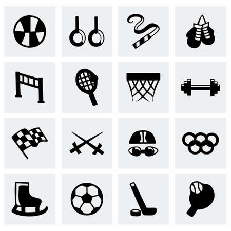 american table: Vector Sport icon set on grey background