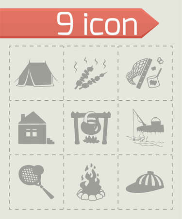 woodpile: Vector Camping icon set on grey background