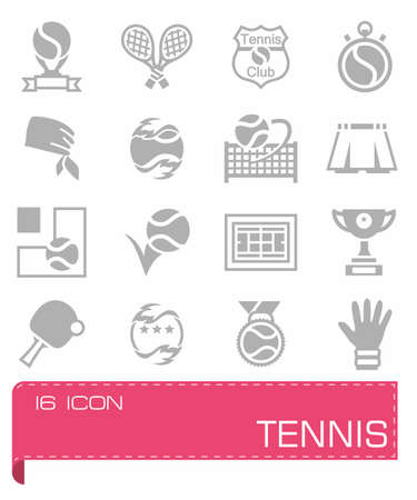 tennis shoe: Vector Tennis icon set on grey background Illustration