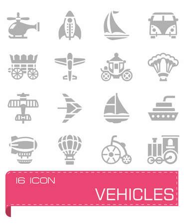 motorized: Vector Vehicles icon set on grey background