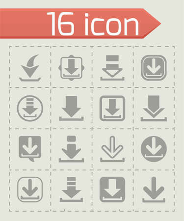 vector download: Vector Download icon set on grey background Illustration