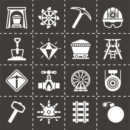 earth mover: Vector Mining icon set on black background