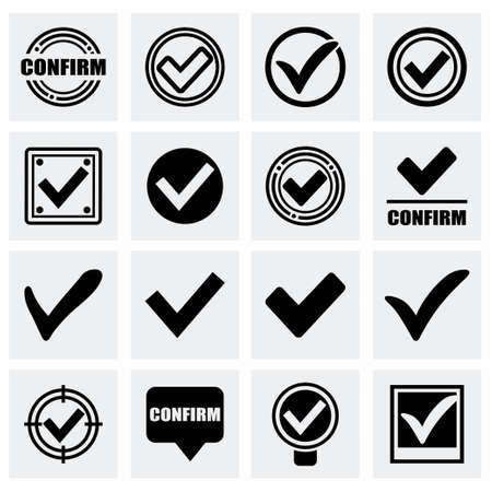 affirmative: Vector Confirm icon set on grey background