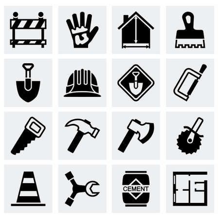 labourers: Vector Construction icon set on grey background Illustration