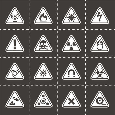 explosion hazard: Vector Danger icon set on black background