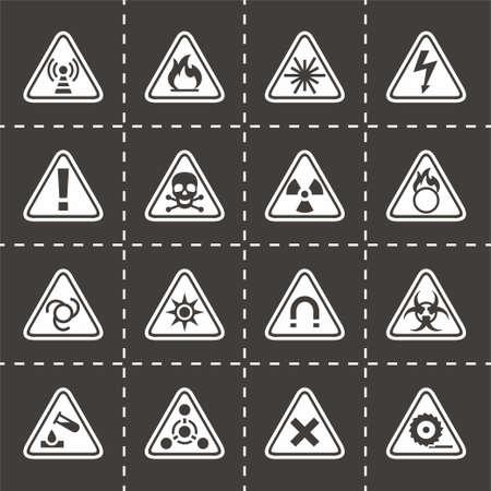 laser hazard sign: Vector Danger icon set on black background