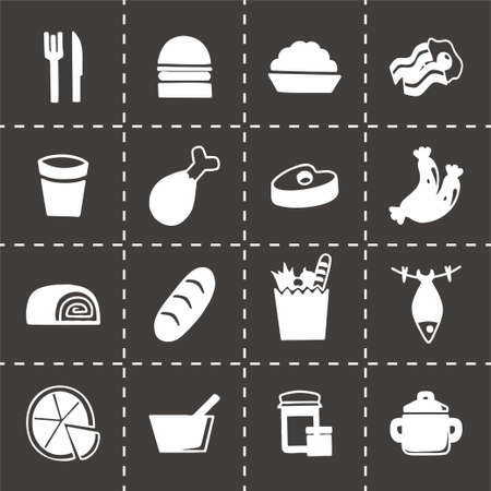 lo mein: Vector Food icon set on black background Illustration