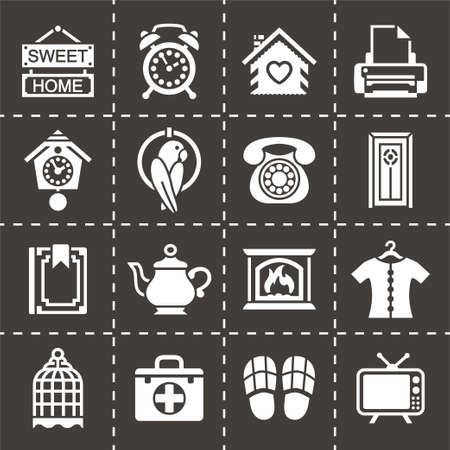 Vector Homey icon set on black background