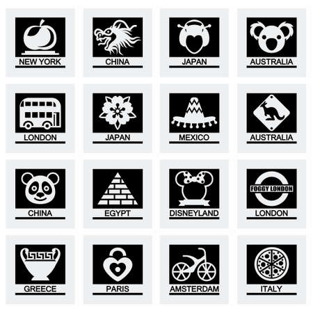 beijing: Vector Landmarks icon set on grey background