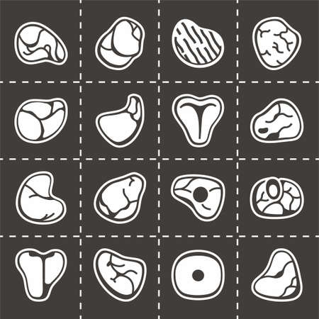 pork chop: Vector Meat icon set on black background