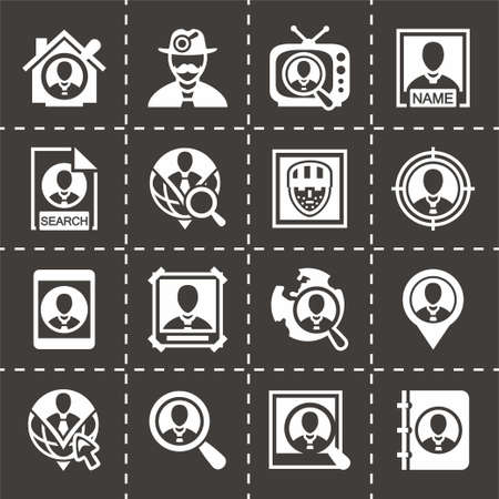 black people: Vector People search icon set on black background
