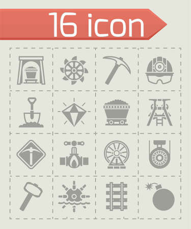 earth mover: Vector Mining icon set on grey background Illustration
