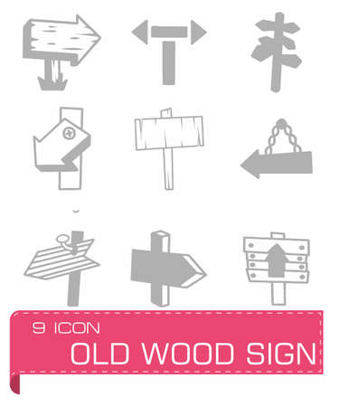 plywood texture: Vector old wood sign icon set Illustration