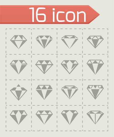 Vector Diamond icon set illustration on white background.