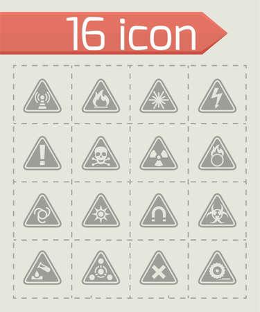Vector Danger icon set on grey background Foto de archivo - 99974374