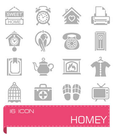 Vector Homey icon set Illustration