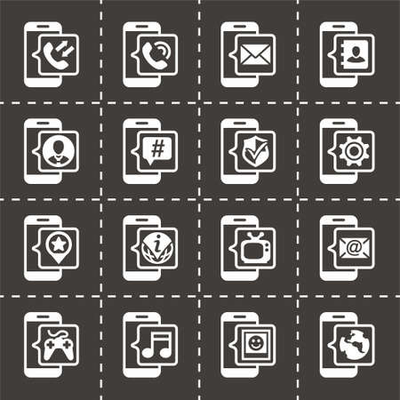 Vector Mobil icon set on black background