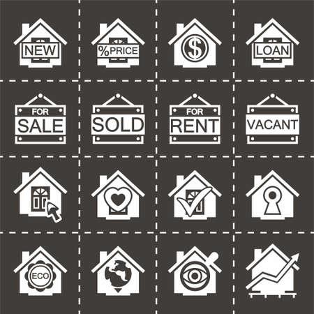 Vector Real estate icon set on black background illustration. Illustration