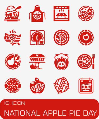 Vector National Apple Pie icon set