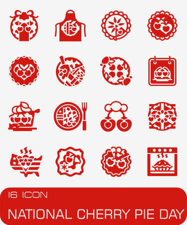 Vector National Cherry Pie Day icon set Illustration