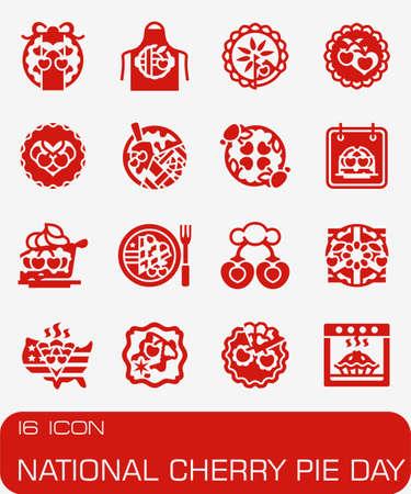 Vector National Cherry Pie Day icon set Иллюстрация