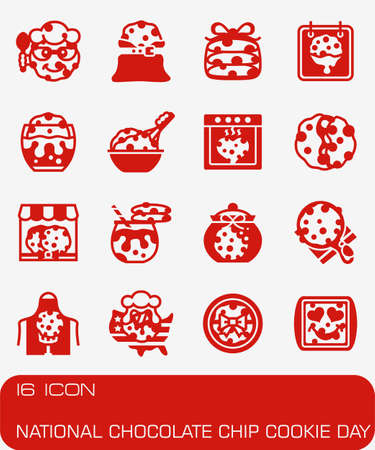 Vector National Chocolate Chip Cookie Day icon set