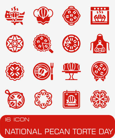 Vector National Pecan Torte Day icon set