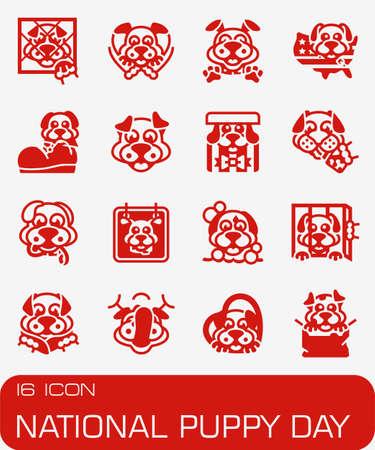 Vector National Puppy Day icon set Фото со стока