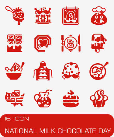 Vector National Milk Chocolate Day icon set