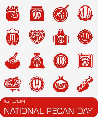 Vector National Pecan Day icon set Фото со стока