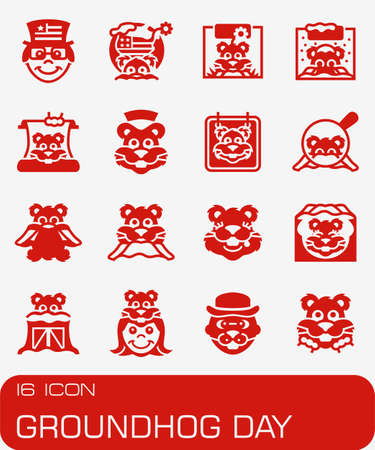 Vector Groundhog Day icon set