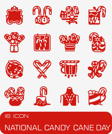 National Candy Cane icon set in colored red illustration.
