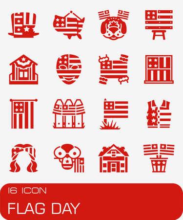 Vector Flag Day icon set