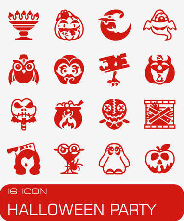 Vector Halloween Party icon set in colored red illustration.