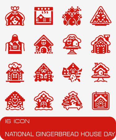 National Gingerbread Cookie Day icon set in colored red illustration.