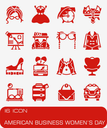 Vector American Business Womens Day icon set